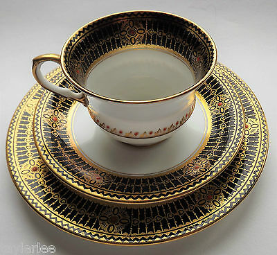 VINTAGE ART DECO 1920's AYNSLEY TRIO CUP SAUCER SIDE PLATE WITH JEWELS A4934 9
