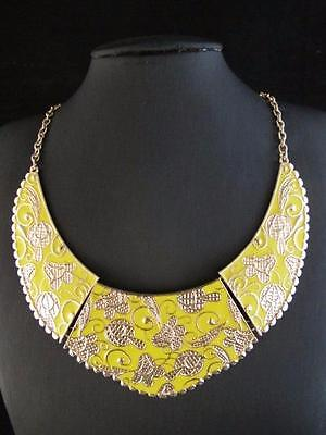 Golden New Fashion Yellow Pattern Half Moon Pendant Necklace Chains PNA570