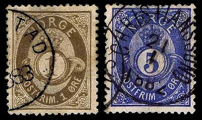 1877-78 Norway #22 & 24 Post Horn Shaded - Used - Vf - Cv$32.00 (Esp#1874)