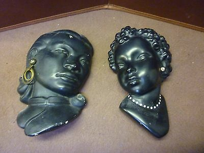 Two Original Vintage Plaster Lady Wall Plaques (8) Please See Others Listed