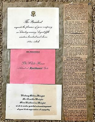 1912 Wilber Wright Death Sympathy Card & 1911 White House Invitation~109453