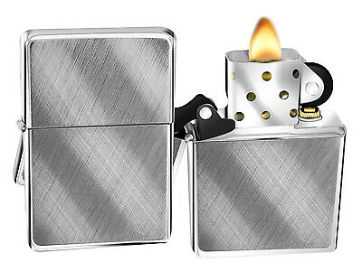 Zippo Lighter 28182 Diagonal Weave Brushed Chrome Windproof Classic NEW