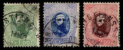1878 Norway #32-34 King Oscar - Used -F/vf - Cv$87.50 (Esp#1876)