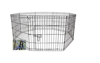 "New 8 Panel 24"" Wide, Black pet dog puppy guinea pig rabbit exercise play pen"