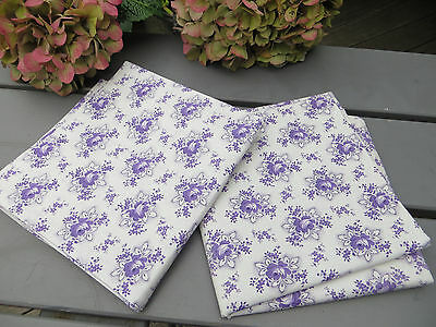 "Unused Set Of Two (2) Pillowcases Euro Shams Cotton Lavender Floral 31 "" by 32"""