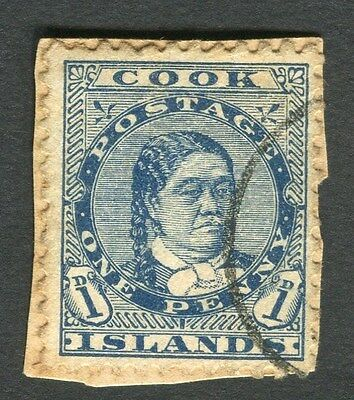 COOK ISLANDS;  1893 early classic issue fine used 1d. value