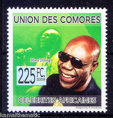 Manu Dibango, Music, Saxophonist, vibraphone player from Cameroon, Comores MNH,
