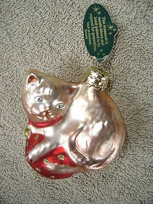 Christborn Cat Kitty Xmas Ornament  EUC Mouth Blown Handpainted Tag