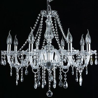 French Provincial Glass Chandelier 8 Arms Modern Ceiling Light Lighting Clear