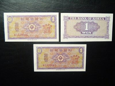 Lot of 3 SOUTH KOREA 1 WON bank notes currency CONSECUTIVE SERIAL NUMBERS 1962