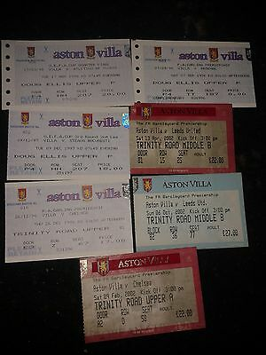 Aston Villa  Bundle Of 7 Home Match Tickets,mint.