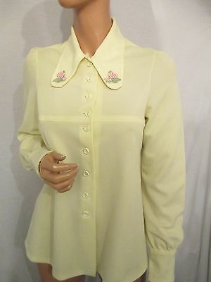 VINTAGE 60s 70s CREAM CRIMPLENE BIG FLORAL COLLAR SMOCK TOP SHIRT BLOUSE SZ:12