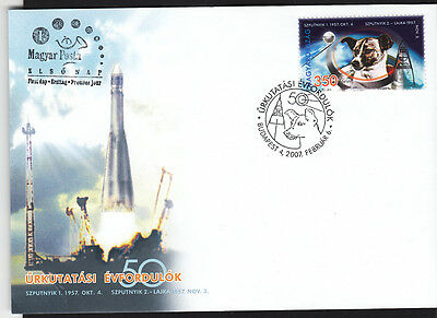 Space - Hungary-2007-Space Dog illustrated FDC