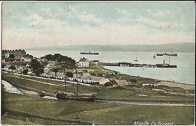 Ships in harbour at Moville, Lough Foyle, Donegal, Ireland, on colour postcard