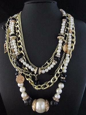 Elegant Gold Tone Faux Pearl Black Bead Pendant Fashion Necklace Chains PNA542