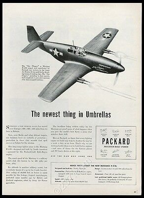 1944 P-51 Mustang USAF Sky Clipper plane art Packard engine vintage print ad