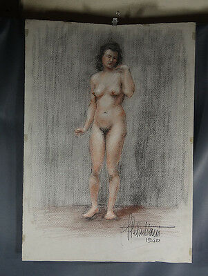 1940 Wwii Fully Nude Naked Woman Erotic Risque Portrait Drawing Painting Italian