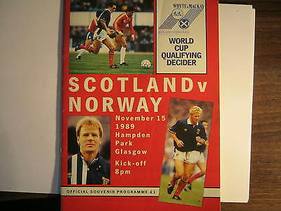 Scotland v Norway 1989 World Cup Qualifying match Programme (A)