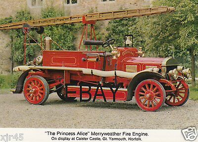 """The Princess Alice"" 1912 Merryweather Fire Engine Postcard"