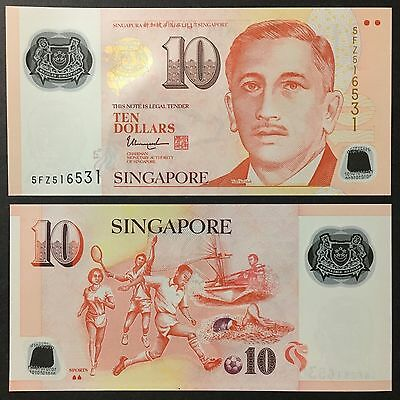 2017 Singapore Portrait Polymer 10 Dollars W/2 Solid House P-New Unc