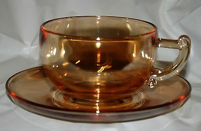 Jeannette Glass Moderne Cup n Saucer Carnival Iridescent Marigold 10 available!