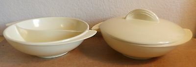 """Vintage 2-8"""" ROUND SERVING Bowls (One Divided) Lid to fit Undivided One Boonton"""