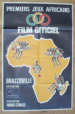 AFRICAN OLYMPIC FIRST GAMES brazzaville original french movie poster '65