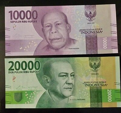 INDONESIA 10.000 and 20.000 Rupiah [2016] - Set of 2 Crisp UNC banknotes
