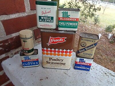 Vintage Lot Of 7 Spice Tins Tin Can Mccormick Bee Brand Frenchs Durkees Ideal