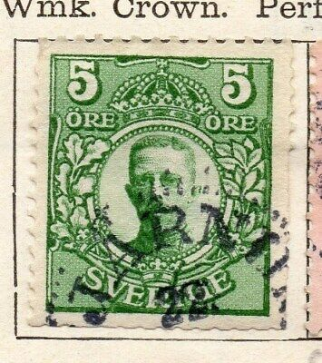Sweden 1910-11 Early Issue Fine Used 5ore. 123290