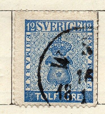 Sweden 1858 Early Issue Fine Used 12ore. 123310