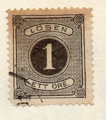 Sweden 1872 Early Issue Fine Used 1ore. Postage Due 123315