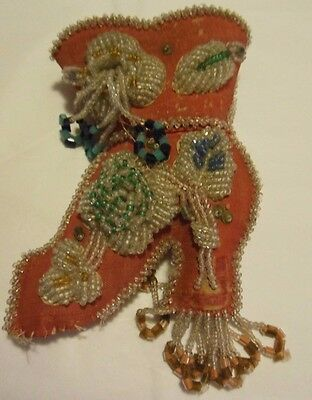 Vintage Victorian Beaded Shoe Pin Cushion Sewing Scissor's Pouch Pincushion