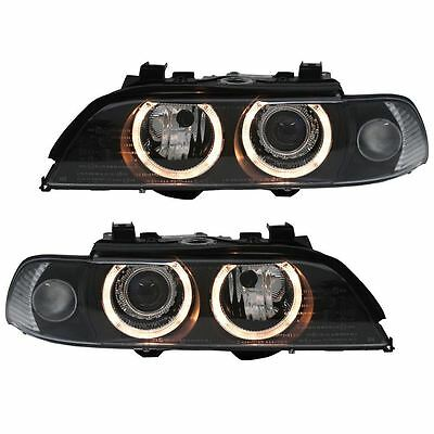 For BMW 5 Series E39 1996-2000 Black Angel Eyes Headlights With Motors Pair