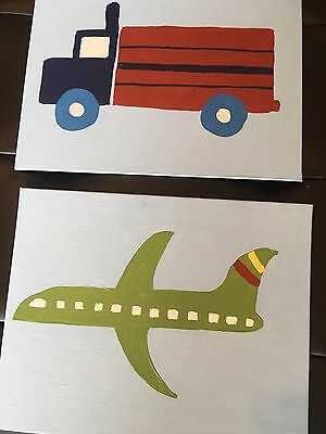 New Brody Airplane Truck Art Paintings made to match Pottery Barn Kids Nursery