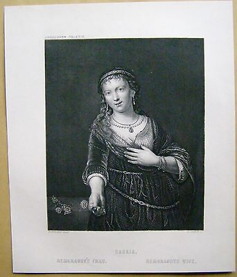 Saskia Rembrandt's Frau  Wife Steel engraving Stahlstich 1877