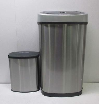 Nine Stars Combo Touchless Trash Can Set, Silver