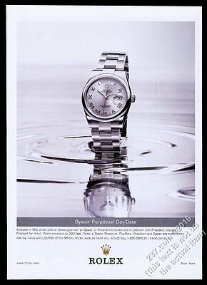 2002 Rolex Oyster Perpetual Day-Date platinum watch photo vintage print ad