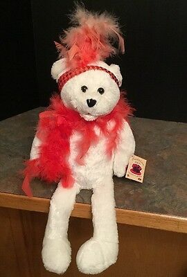"""Chantilly Lane Musicals 18"""" Roxie Bear w/ Red Boa """"I Wanna Be Loved by You"""""""