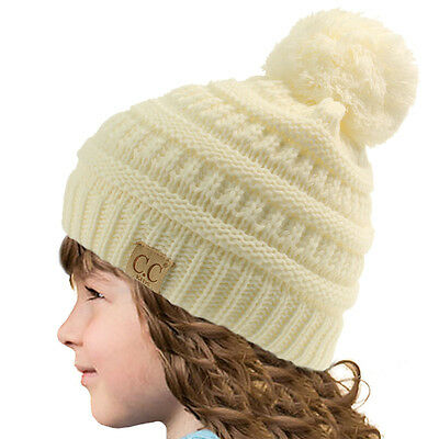 Kids CC Ages 2-7 PomPom Chunky Thick Stretchy Knit Slouch Beanie Skull Hat Ivory