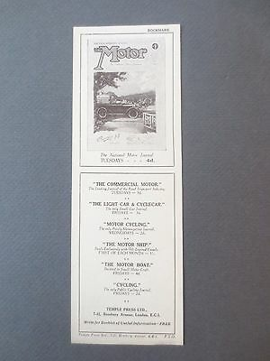 Vintage BOOKMARK The MOTOR Journal Magazine Temple Press Publications 1925 OLD