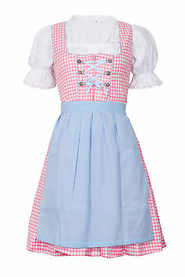 German,Trachten,May,Oktoberfest,Dirndl Dress,3-pc.Sz.12,PINK,L.Blue,White.USA