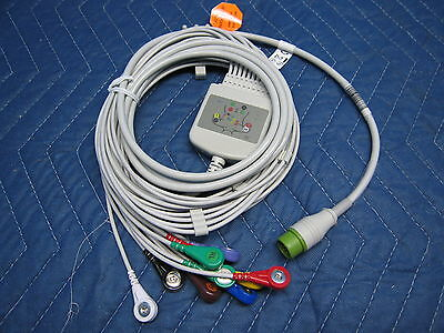 New 10 Lead 12 Pin EKG / ECG Trunk Cable for Mindray with Snap Lead 0010-30-4272