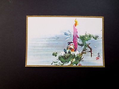 Vintage Unused Tyrus Wong Xmas Greeting Card Adorable Elf Resting by the Candle