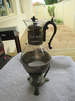 Vintage Claret Decanter With Silver Plated Stand Lid Handle Candle Claw Feet