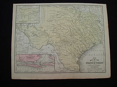 1852 Mitchell Map State of Texas 100% Genuine Rare Antique