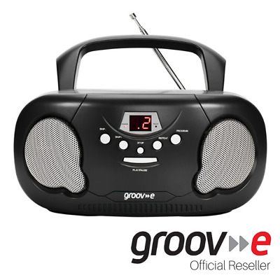 New Groov-E Boombox Portable Cd Player With Radio And Headphone Jack - Black
