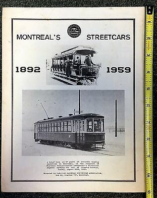 1959 Montreal's Streetcars Brochure & Pamphlet Excellent Cond!! Trolley