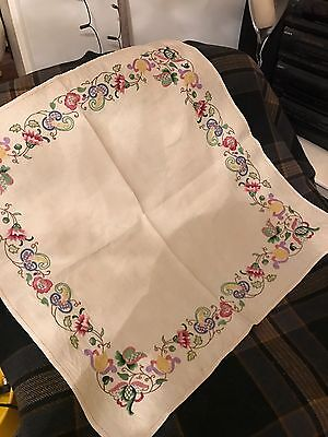 Vintage Linen Tablecloth Hand Embroiled With Jacobean Style Decoration