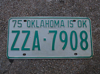 NOS Old License Plate Sign 1975 ZZA 7908 Car Auto Man Cave Craft Do Green OK